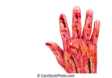 bloody hand - an scary and bloody hand for Halloween on a...