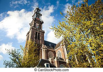 Westerkerk church in Amsterdam, Netherlands - Westerkerk...