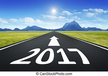 road to horizon with the number 2017