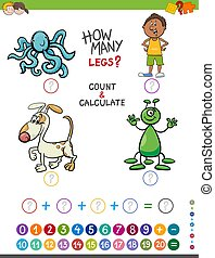 educational addition game for kids - Cartoon Illustration of...