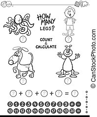 addition game coloring page - Black and White Cartoon...