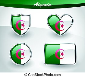 Glossy Algeria flag icon set with shield, heart, circle and...