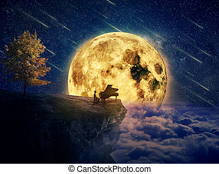 midnight lullaby - Night scene with a boy, musician standing...