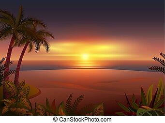 Sunset on tropical island. Palm trees, sea