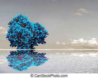 teal color flower reflection sky cloud water surface of lake...