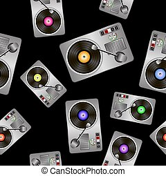 Vinyl Record Players Seamless Pattern