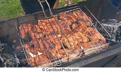 BBQ, meat roasting on the grill