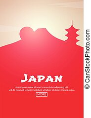 Travel poster to Japan. Landmarks silhouettes. Vector illustration.