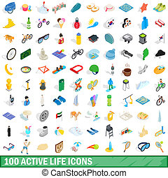 100 active life icons set, isometric 3d style - 100 active...