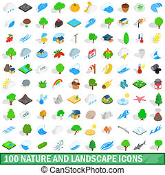 100 nature and landscape icons set in isometric 3d style for...