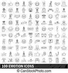 100 emotion icons set, outline style - 100 emotion icons set...