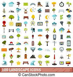 100 landscape icons set, flat style