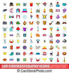 100 cinematography icons set, cartoon style - 100...