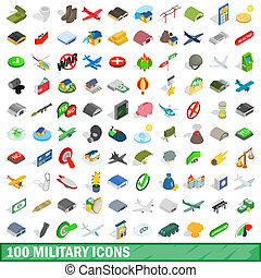 100 military icons set, isometric 3d style - 100 military...