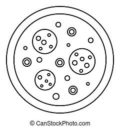 Pizza icon, outline style - Pizza icon. Outline illustration...