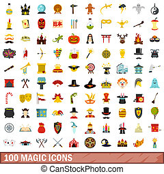 100 magic icons set, flat style
