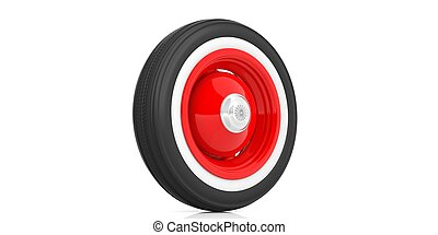 Classic car tyre isolated on white. 3d illustration -...