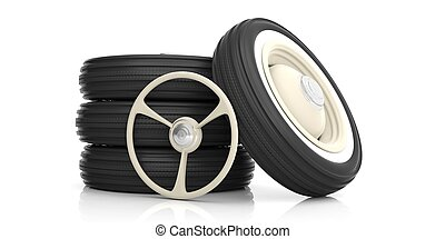 Car steering wheel and tyres isolated on white. 3d...