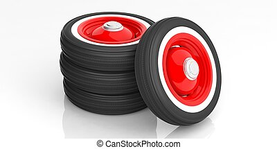 Classic car tyres isolated on white. 3d illustration -...
