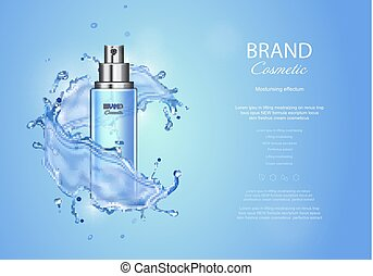 Ice toner ads on blue background. Spray bottle water drops...