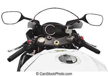 motorcycle - The image of motorcycle handlebars and gage...