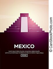 Travel poster to Mexico. Landmarks silhouettes. Vector illustration.
