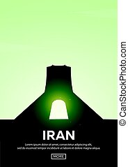 Travel poster to Iran. Landmarks silhouettes. Vector illustration.