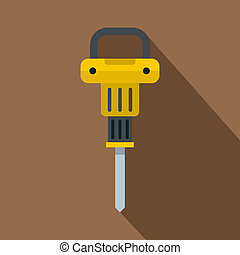 Pneumatic hammer icon, flat style - Pneumatic hammer icon....