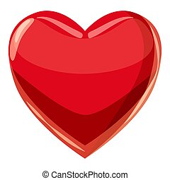 Heart suit plying card icon, cartoon style - Heart suit...