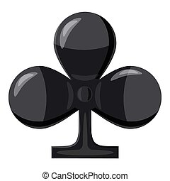 Club suit playing card icon, cartoon style - Club suit...