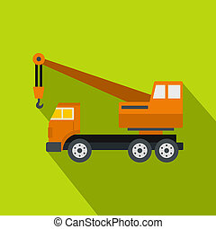 Orange truck crane icon, flat style - Orange truck crane...
