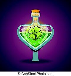 Bottle with clover leaf, magic elixir. Game design...