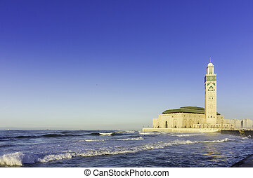 View on seafront of Grande Mosquée Hassan II in Casablanca,...