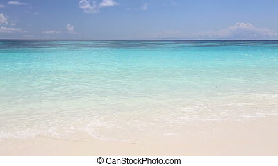 Idyllic tropical turquoise beach with white sand shore at...