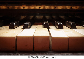 Closeup of antique piano keys - Antique piano keys closeup