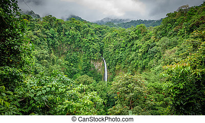 La Fortuna de San Carlos waterfall top view in Costa Rica