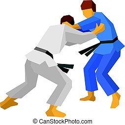 Two judo fighters in blue and white colors. Martial arts.