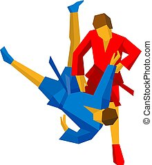 Sparring of two sambo fighters in red and blue - Sparring of...