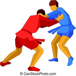 Two sambo fighters in blue and red. Martial arts - Two sambo...