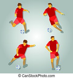 Four poses of soccer player in red