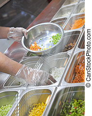 cooking in fast food restaurant