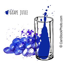 Grape juice in glass and grapevine vector illustration. Watercolor sketch about grape drink and fresh juice. Hand draw glass and health grapes drink.