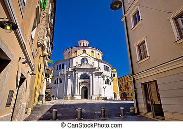Rijeka church and square street view, Kvarner bay, Croatia