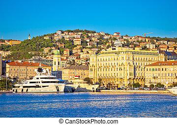 City of Rijeka waterfront boats and architecture view,...