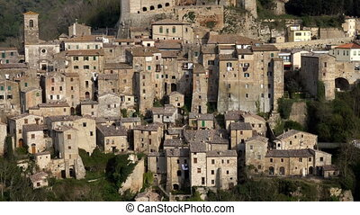 view at the old famous tuff city Sorano