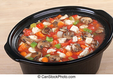 Pot of Chicken Vegetable Soup - Chicken soup with with...