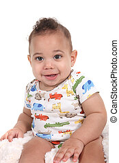 Infant baby boy on a white background