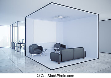 Contemporary office with blank banner