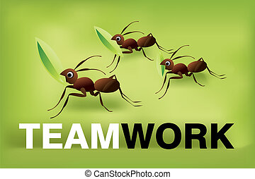 Team Work Spirit, set of ants working together