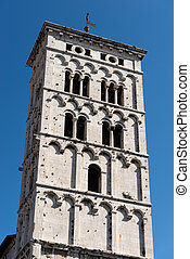 San Michele in Foro - Lucca Italy - Bell tower of the church...